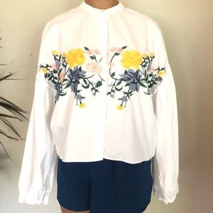 Zara hip Trafaluc embroidered white top